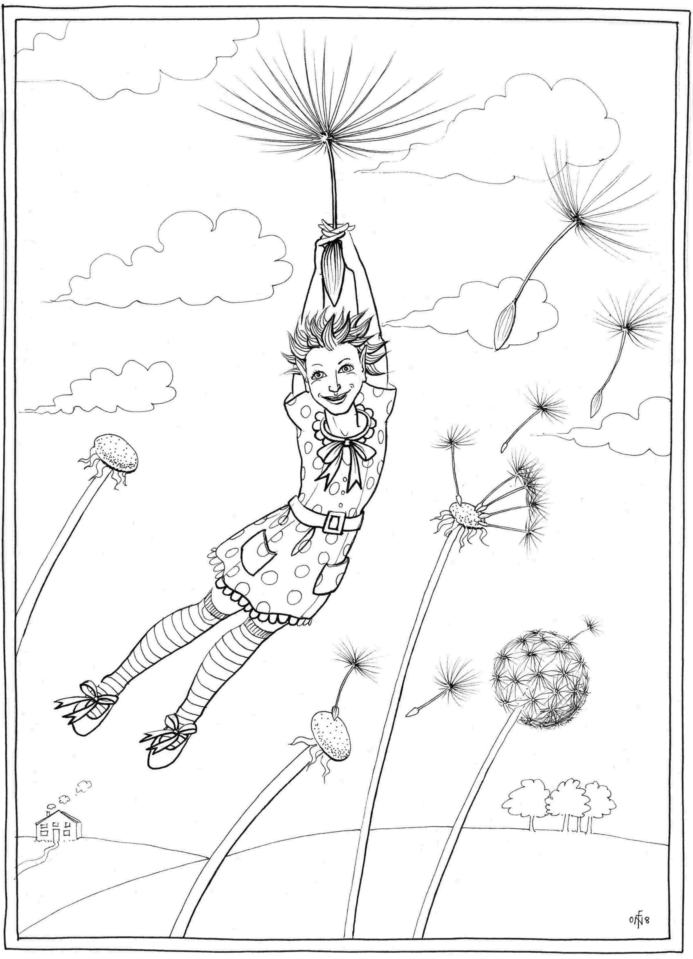 Blowing dandelion coloring pages coloring coloring pages for Dandelion coloring page