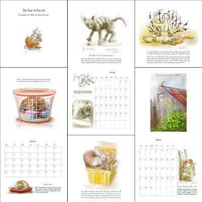'Cat drawings' from the 2016 Calendar