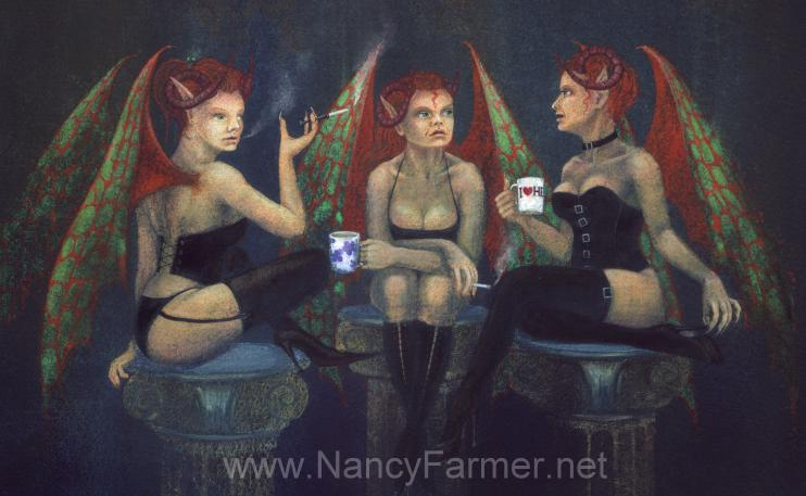 Coffee Break - devils in art by Nancy Farmer