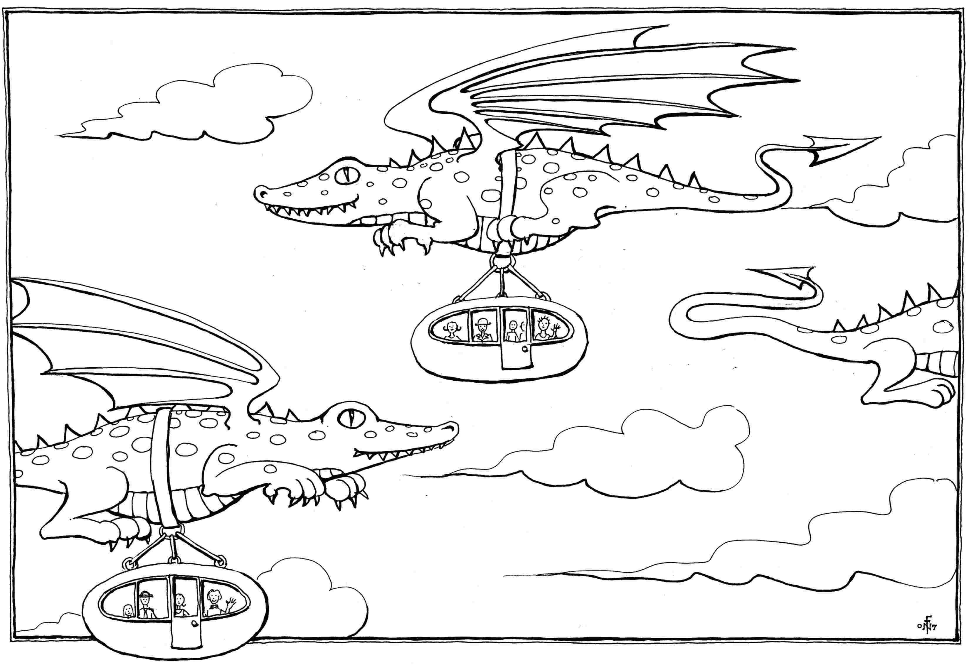 dragon bus colouring in drawing suitable for children