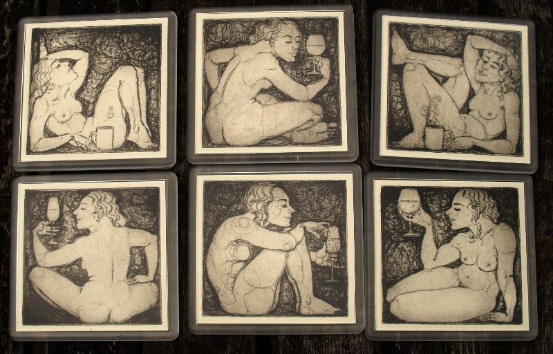 'Drinking Nudes' - drypoint artwork in coasters