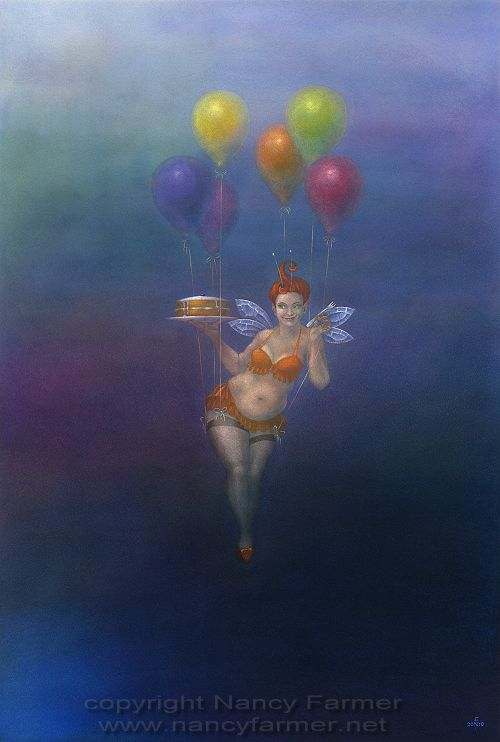 Fairy Cakes II - painting in gouache by Nancy Farmer