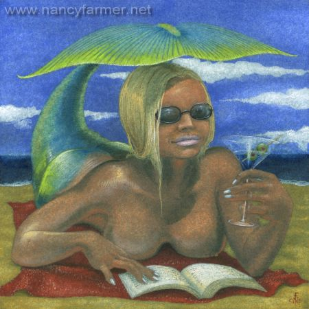 Bronzed Mermaid - painting by Nancy Farmer
