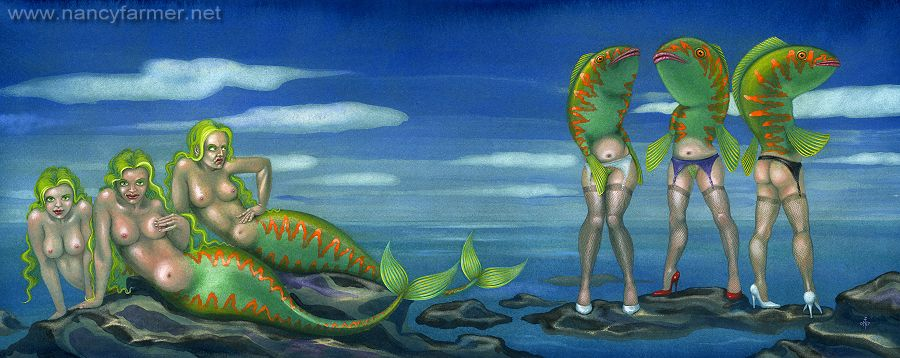 Mermaid picture - Sirens on the Rocks - painting by Nancy Farmer