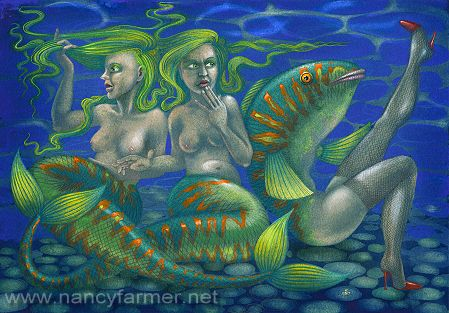 Two Mermaids and a Maidmer - painting by Nancy Farmer