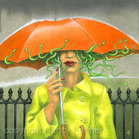 Medusa in England - painting in gouache