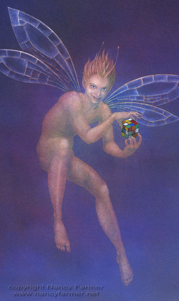 Fairy and Rubik's Cube - painting in gouache by Nancy Farmer