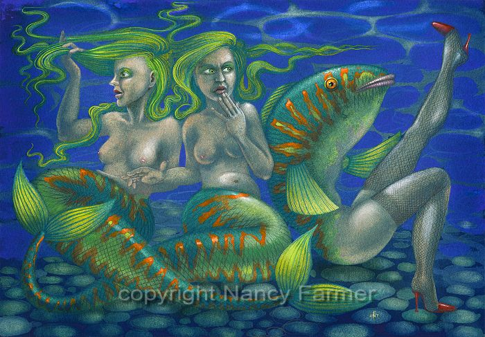 Painting: Two Mermaids and a Maidmer